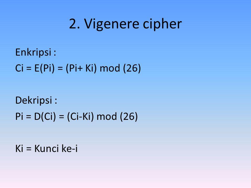 2. Vigenere cipher Enkripsi : Ci = E(Pi) = (Pi+ Ki) mod (26) Dekripsi : Pi = D(Ci) = (Ci-Ki) mod (26) Ki = Kunci ke-i