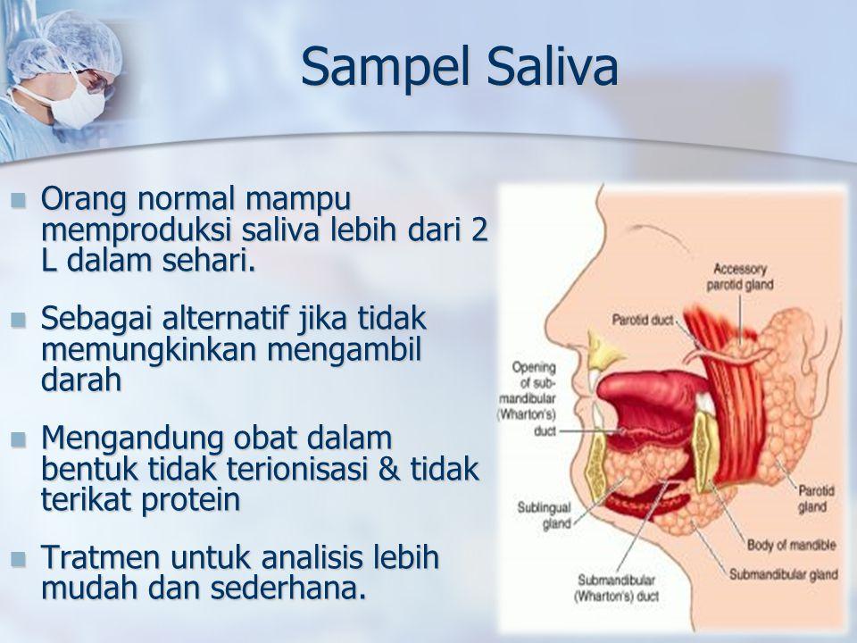 Sampel Saliva Orang normal mampu memproduksi saliva lebih dari 2 L dalam sehari. Orang normal mampu memproduksi saliva lebih dari 2 L dalam sehari. Se