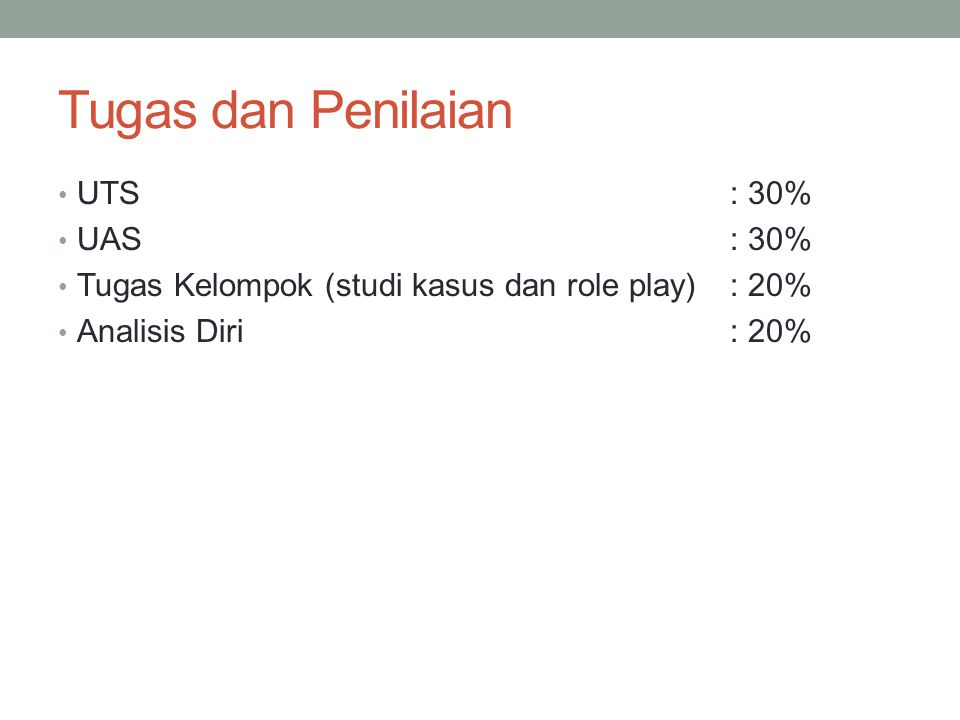 Tugas dan Penilaian UTS: 30% UAS: 30% Tugas Kelompok (studi kasus dan role play): 20% Analisis Diri: 20%