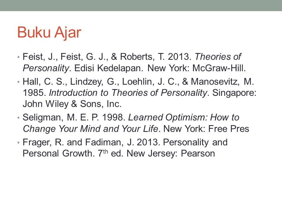 Buku Ajar Feist, J., Feist, G. J., & Roberts, T. 2013. Theories of Personality. Edisi Kedelapan. New York: McGraw-Hill. Hall, C. S., Lindzey, G., Loeh