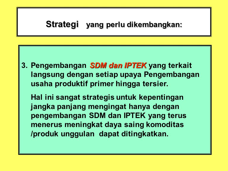 Strategi yang perlu dikembangkan: SDM dan IPTEK 3.