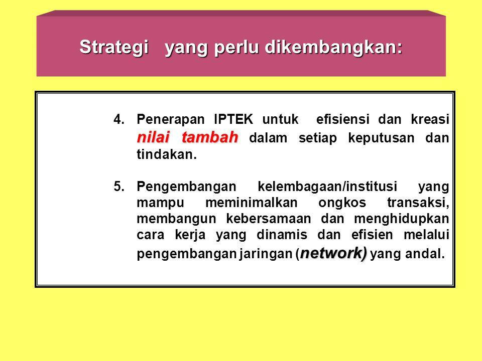Strategi yang perlu dikembangkan: nilai tambah 4.