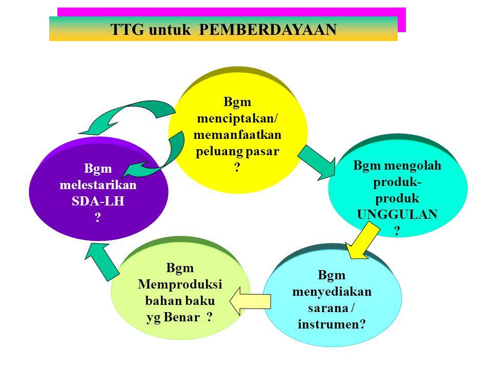 TTG untuk PEMBERDAYAAN Bgm menciptakan/ memanfaatkan peluang pasar .
