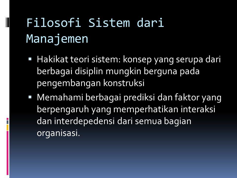 Filosofi Sistem dari Manajemen  Hakikat teori sistem: konsep yang serupa dari berbagai disiplin mungkin berguna pada pengembangan konstruksi  Memaha