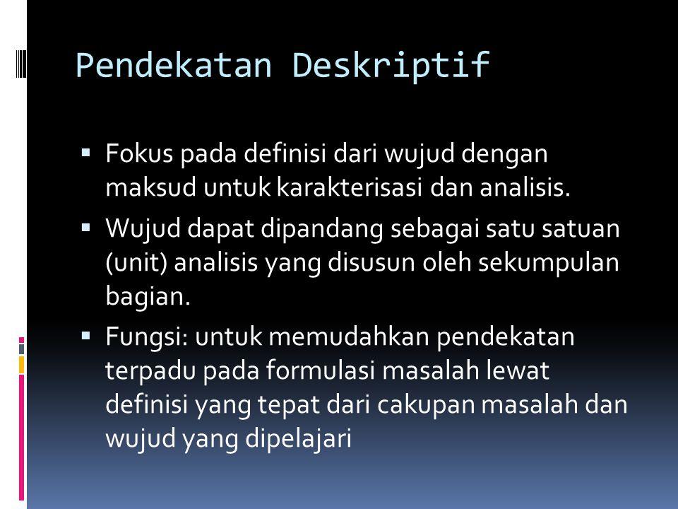 Pendekatan Deskriptif  Fokus pada definisi dari wujud dengan maksud untuk karakterisasi dan analisis.  Wujud dapat dipandang sebagai satu satuan (un