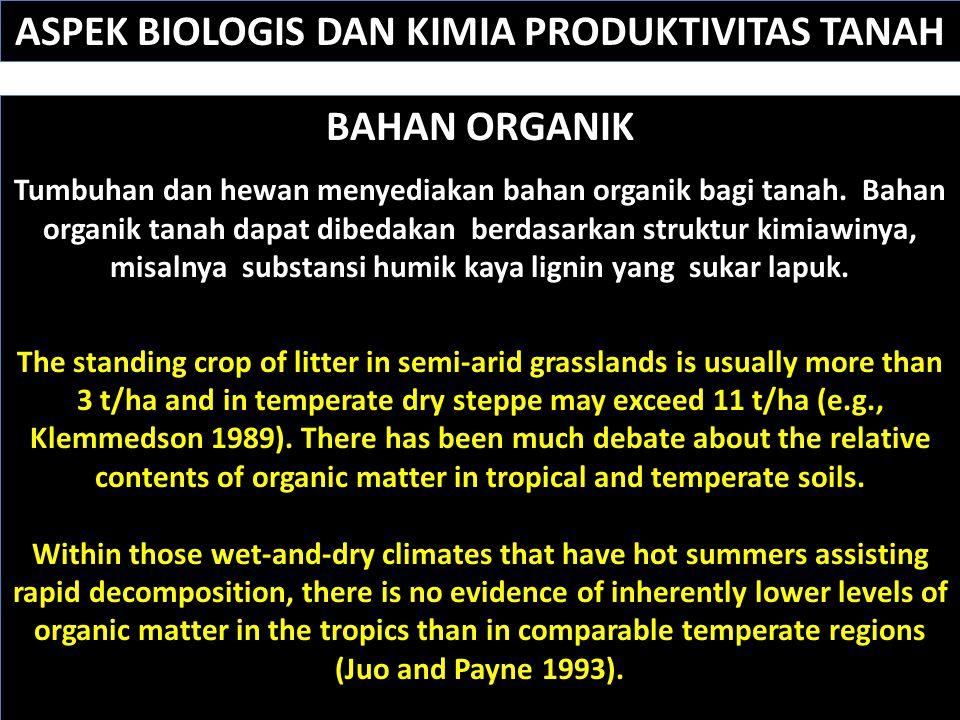 Sumber:. http://www.fao.org/docrep/V9926E/v9926e05.htm#TopOfPage BAHAN ORGANIK Tumbuhan dan hewan menyediakan bahan organik bagi tanah. Bahan organik