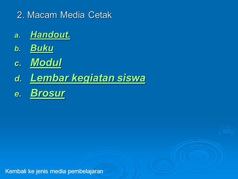 2. Macam Media Cetak a. Handout. Handout. b. Buku Buku c. Modul Modul d. Lembar kegiatan siswa Lembar kegiatan siswa Lembar kegiatan siswa e. Brosur B