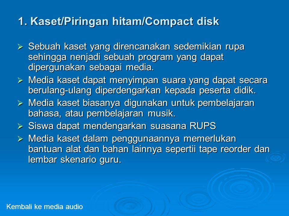1. Kaset/Piringan hitam/Compact disk  Sebuah kaset yang direncanakan sedemikian rupa sehingga nenjadi sebuah program yang dapat dipergunakan sebagai