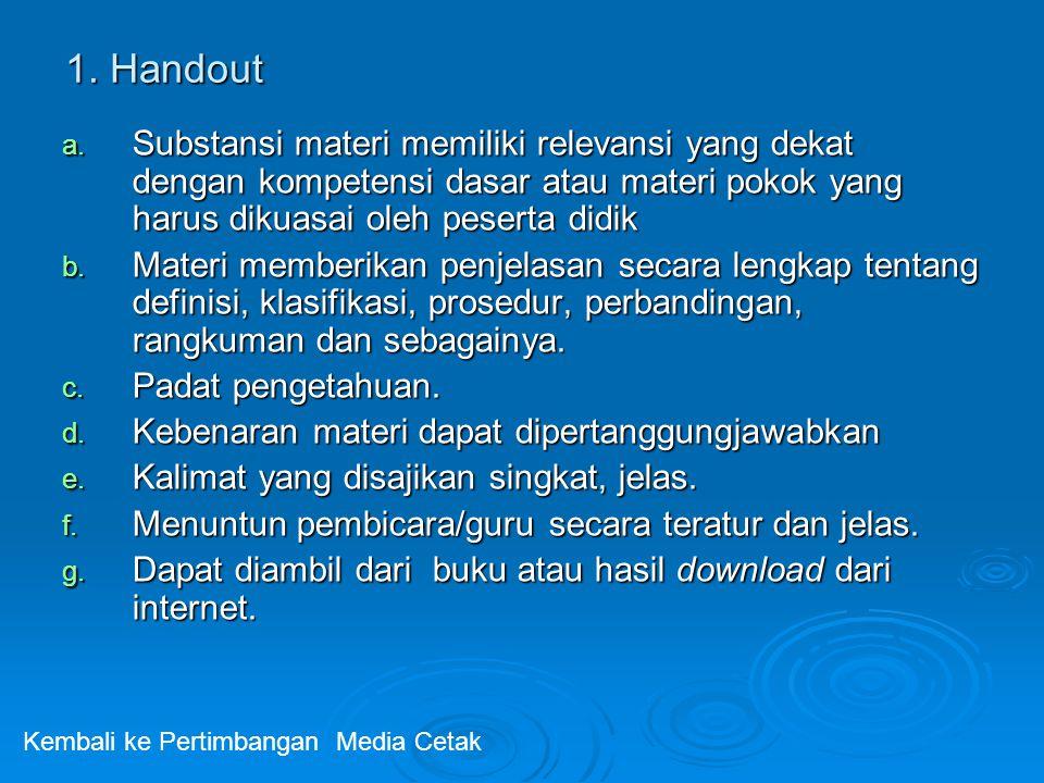 1. Handout a. Substansi materi memiliki relevansi yang dekat dengan kompetensi dasar atau materi pokok yang harus dikuasai oleh peserta didik b. Mater