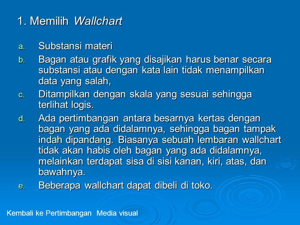 1. Memilih Wallchart a. Substansi materi b. Bagan atau grafik yang disajikan harus benar secara substansi atau dengan kata lain tidak menampilkan data