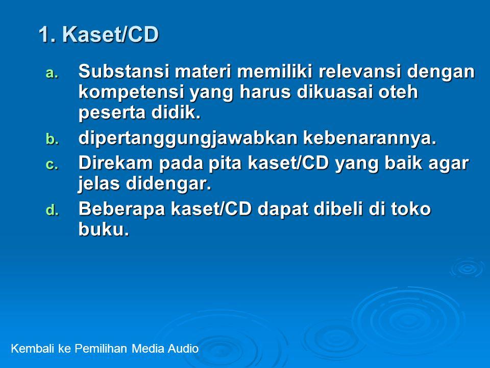 1. Kaset/CD a. Substansi materi memiliki relevansi dengan kompetensi yang harus dikuasai oteh peserta didik. b. dipertanggungjawabkan kebenarannya. c.