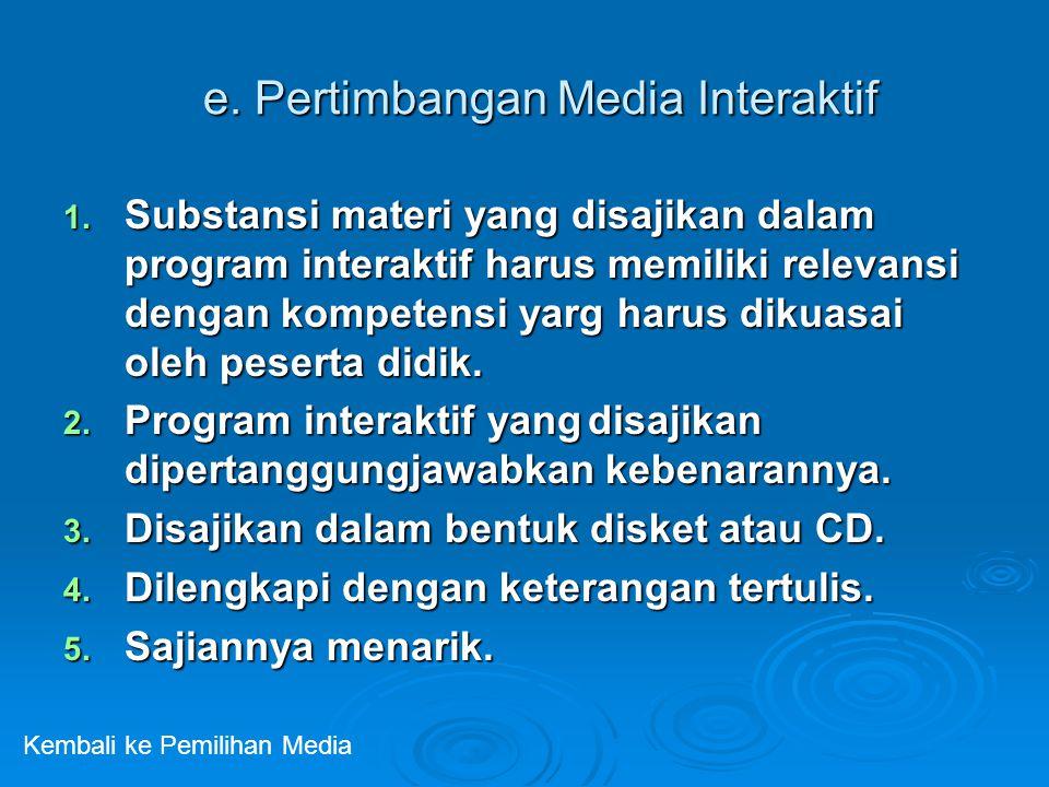 e. Pertimbangan Media Interaktif 1. Substansi materi yang disajikan dalam program interaktif harus memiliki relevansi dengan kompetensi yarg harus dik