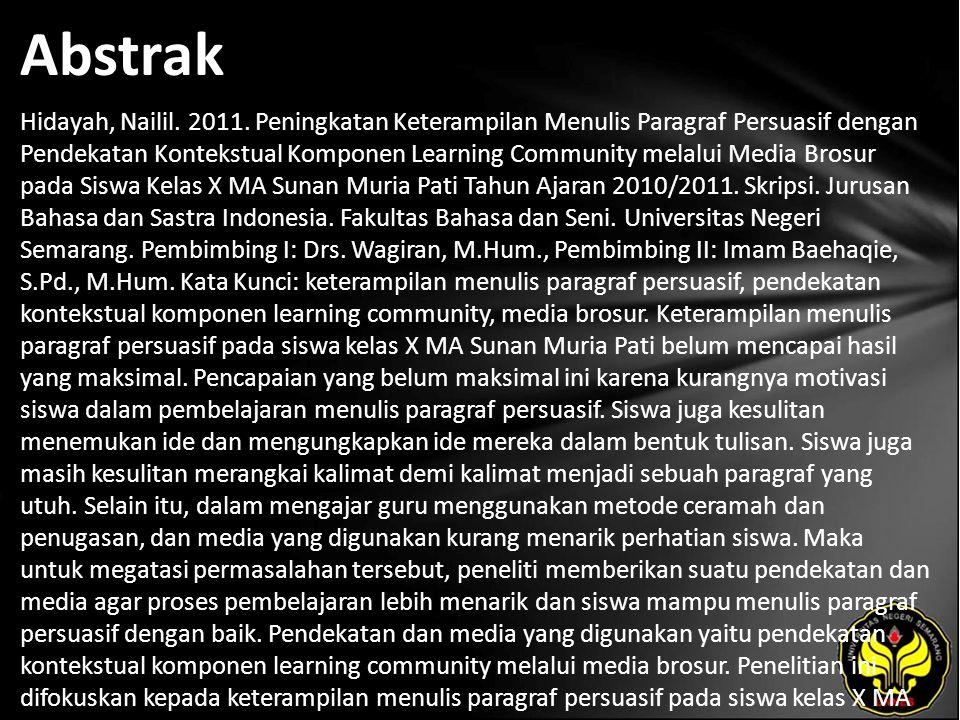 Abstrak Hidayah, Nailil. 2011.