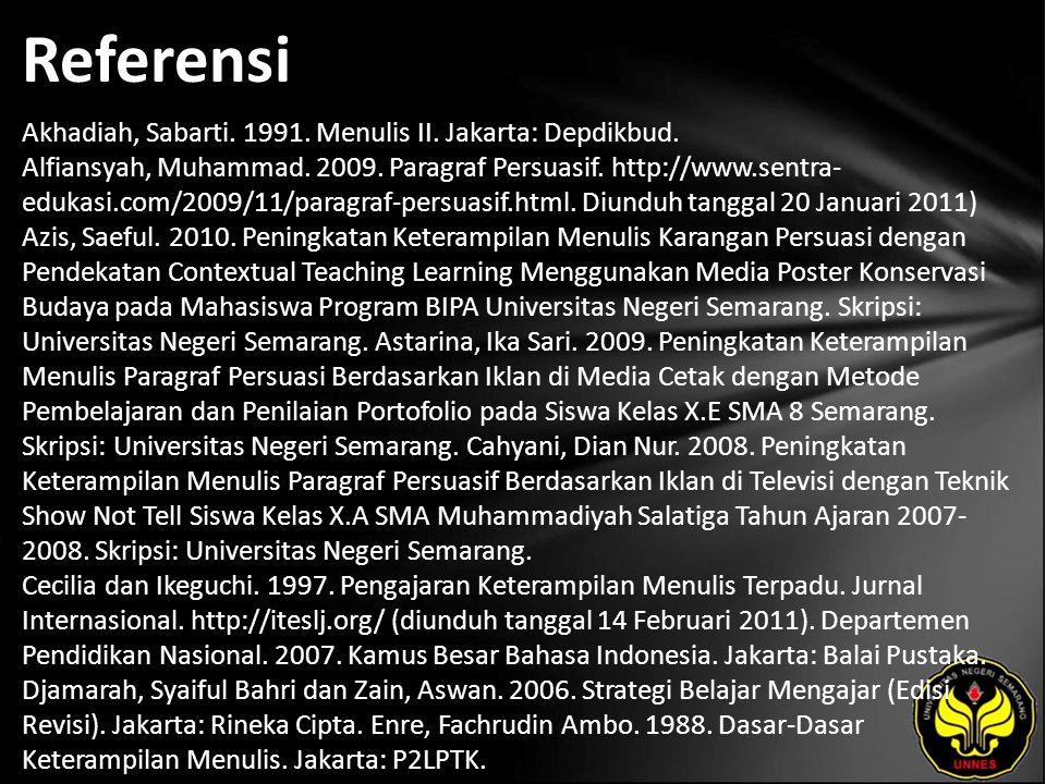 Referensi Akhadiah, Sabarti. 1991. Menulis II. Jakarta: Depdikbud.