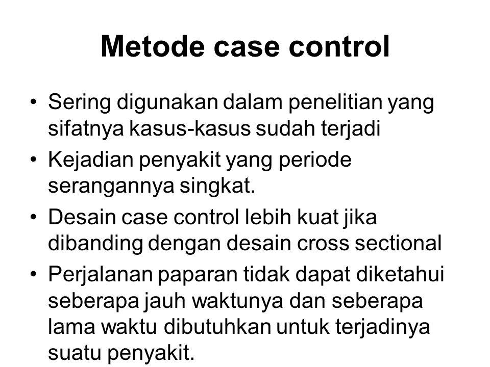 Metode case control Sering digunakan dalam penelitian yang sifatnya kasus-kasus sudah terjadi Kejadian penyakit yang periode serangannya singkat.