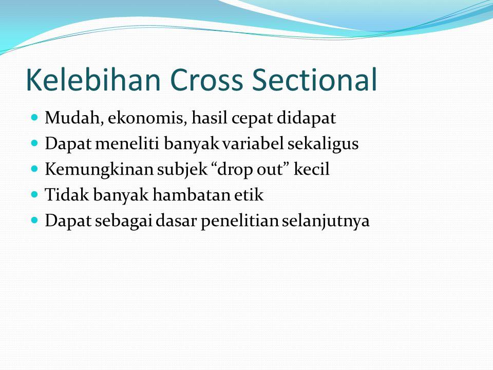 """Kelebihan Cross Sectional Mudah, ekonomis, hasil cepat didapat Dapat meneliti banyak variabel sekaligus Kemungkinan subjek """"drop out"""" kecil Tidak bany"""