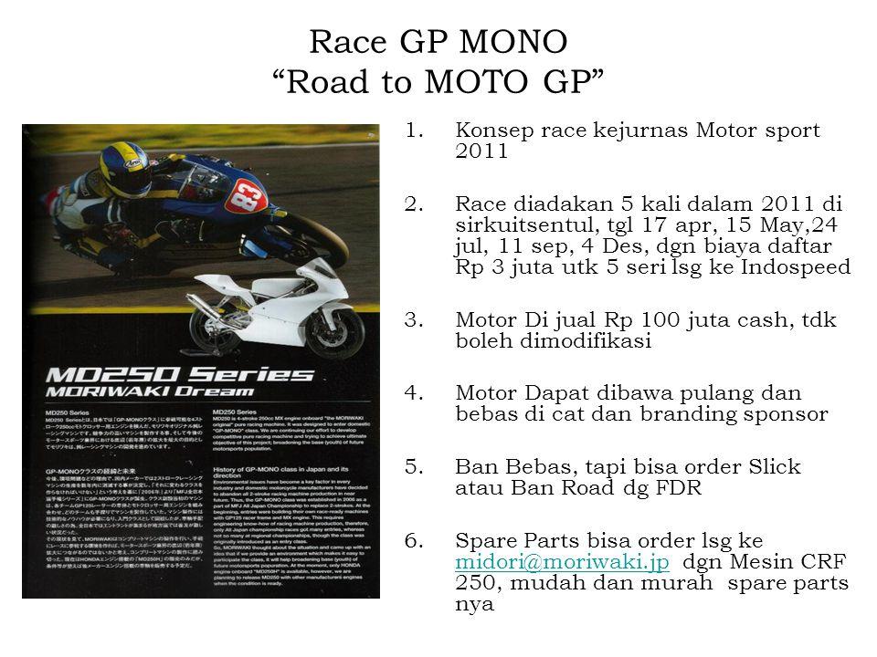 """Race GP MONO """"Road to MOTO GP"""" 1.Konsep race kejurnas Motor sport 2011 2.Race diadakan 5 kali dalam 2011 di sirkuitsentul, tgl 17 apr, 15 May,24 jul,"""