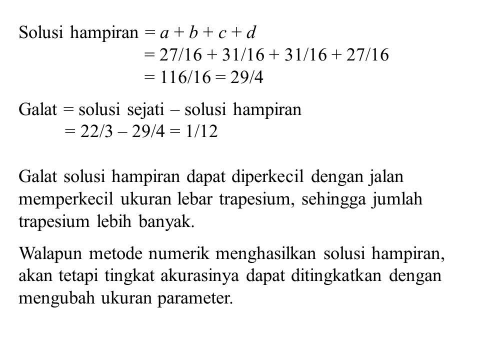 Solusi hampiran = a + b + c + d = 27/16 + 31/16 + 31/16 + 27/16 = 116/16 = 29/4 Galat = solusi sejati – solusi hampiran = 22/3 – 29/4 = 1/12 Galat sol