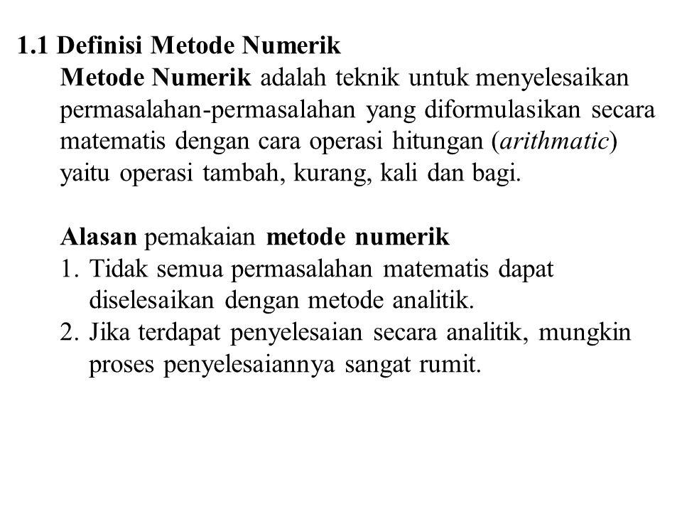 1.1 Definisi Metode Numerik Metode Numerik adalah teknik untuk menyelesaikan permasalahan-permasalahan yang diformulasikan secara matematis dengan car