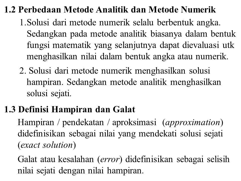 1.2 Perbedaan Metode Analitik dan Metode Numerik 1.Solusi dari metode numerik selalu berbentuk angka. Sedangkan pada metode analitik biasanya dalam be