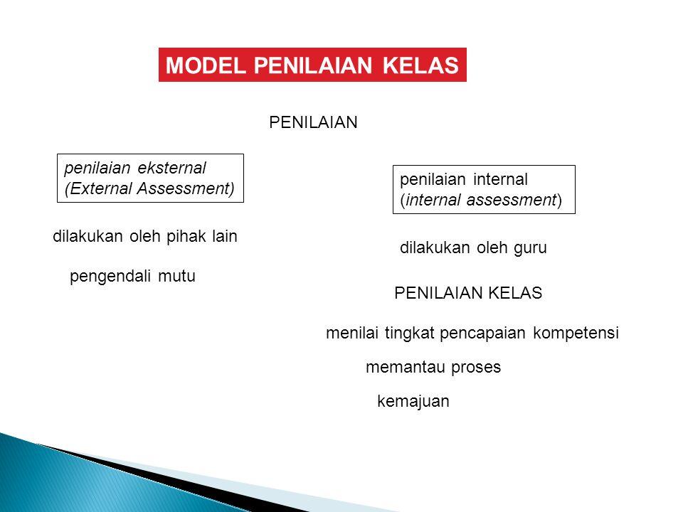 MODEL PENILAIAN KELAS PENILAIAN dilakukan oleh pihak lain penilaian internal (internal assessment) pengendali mutu dilakukan oleh guru PENILAIAN KELAS