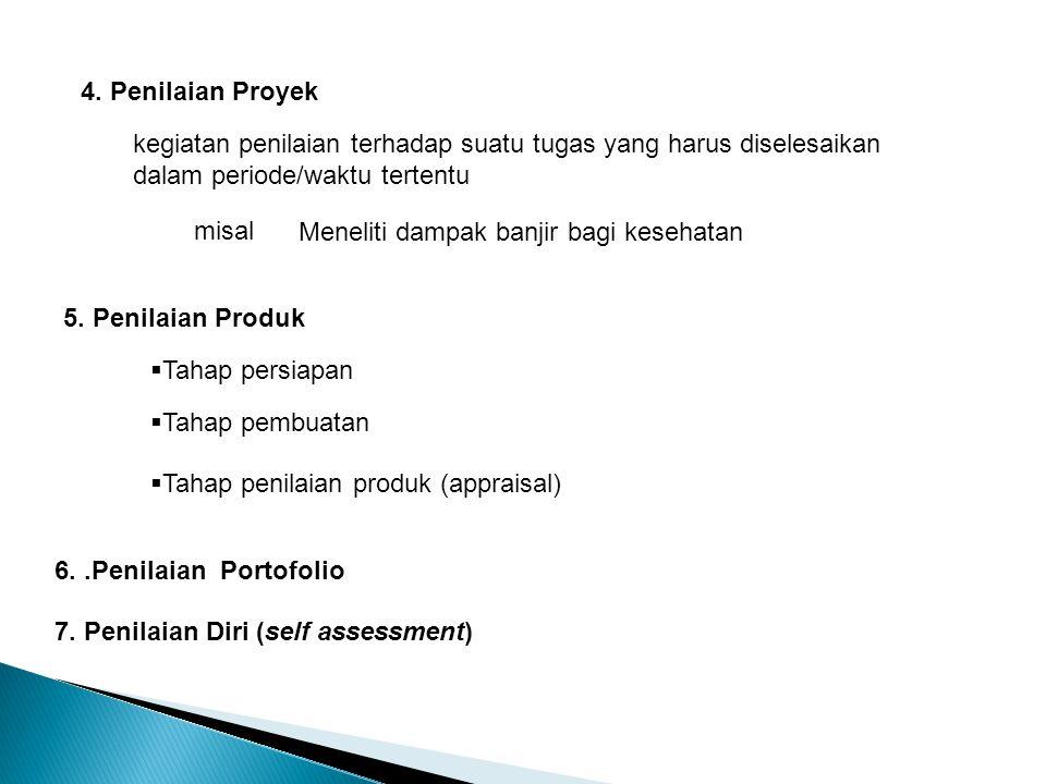 4. Penilaian Proyek kegiatan penilaian terhadap suatu tugas yang harus diselesaikan dalam periode/waktu tertentu misal Meneliti dampak banjir bagi kes