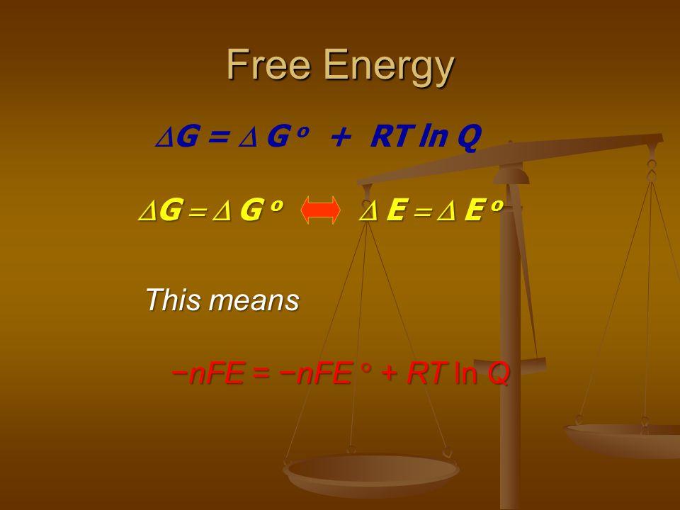 Free Energy  G =  G o + RT ln Q  G  G o  E  E o This means −nFE = −nFE  + RT ln Q