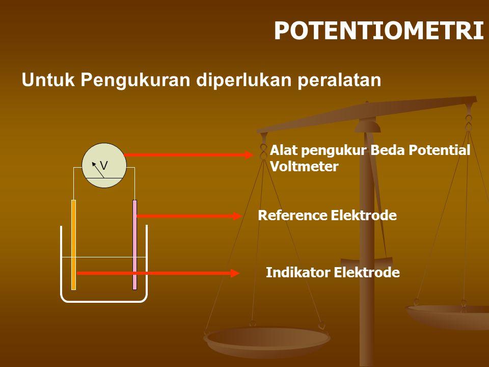 Untuk Pengukuran diperlukan peralatan V Alat pengukur Beda Potential Voltmeter Reference Elektrode Indikator Elektrode POTENTIOMETRI