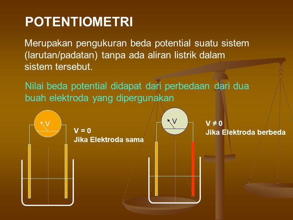 Merupakan pengukuran beda potential suatu sistem (larutan/padatan) tanpa ada aliran listrik dalam sistem tersebut. Nilai beda potential didapat dari p