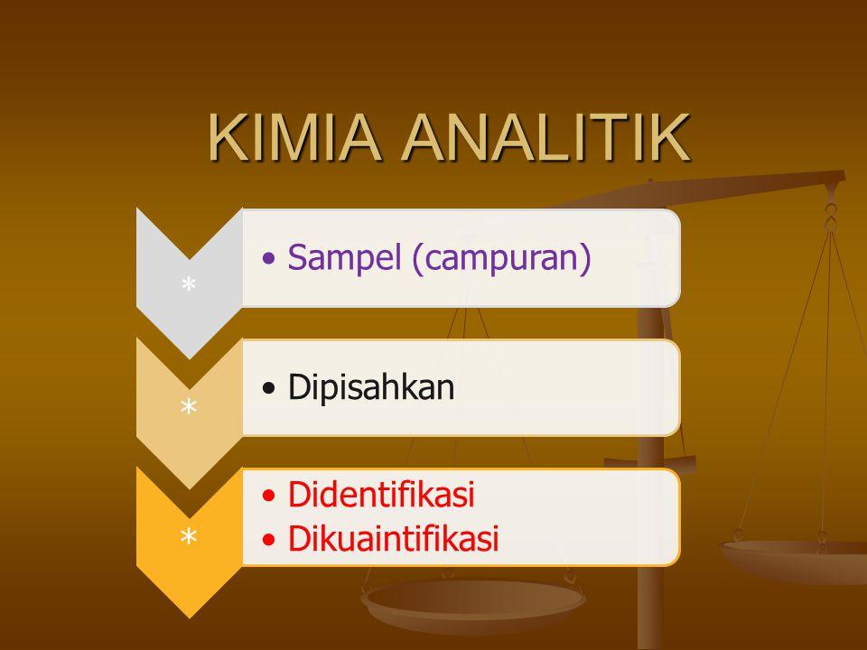 KIMIA ANALITIK  Sampel (campuran) * Dipisahkan * Didentifikasi Dikuaintifikasi