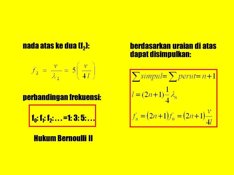 nada atas ke dua (f 2 ): perbandingan frekuensi: f 0 : f 1 : f 2 :... =1: 3: 5:... Hukum Bernoulli II berdasarkan uraian di atas dapat disimpulkan: