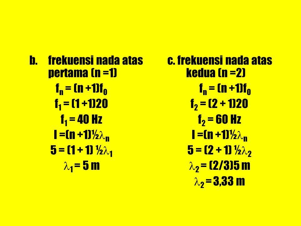 b.frekuensi nada atas pertama (n =1) f n = (n +1)f 0 f 1 = (1 +1)20 f 1 = 40 Hz l =(n +1)½ n 5 = (1 + 1) ½ 1 1 = 5 m c. frekuensi nada atas kedua (n =