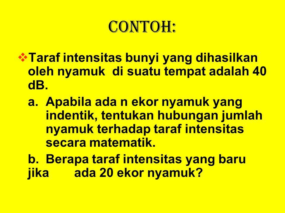 Contoh: TTaraf intensitas bunyi yang dihasilkan oleh nyamuk di suatu tempat adalah 40 dB. a.Apabila ada n ekor nyamuk yang indentik, tentukan hubung