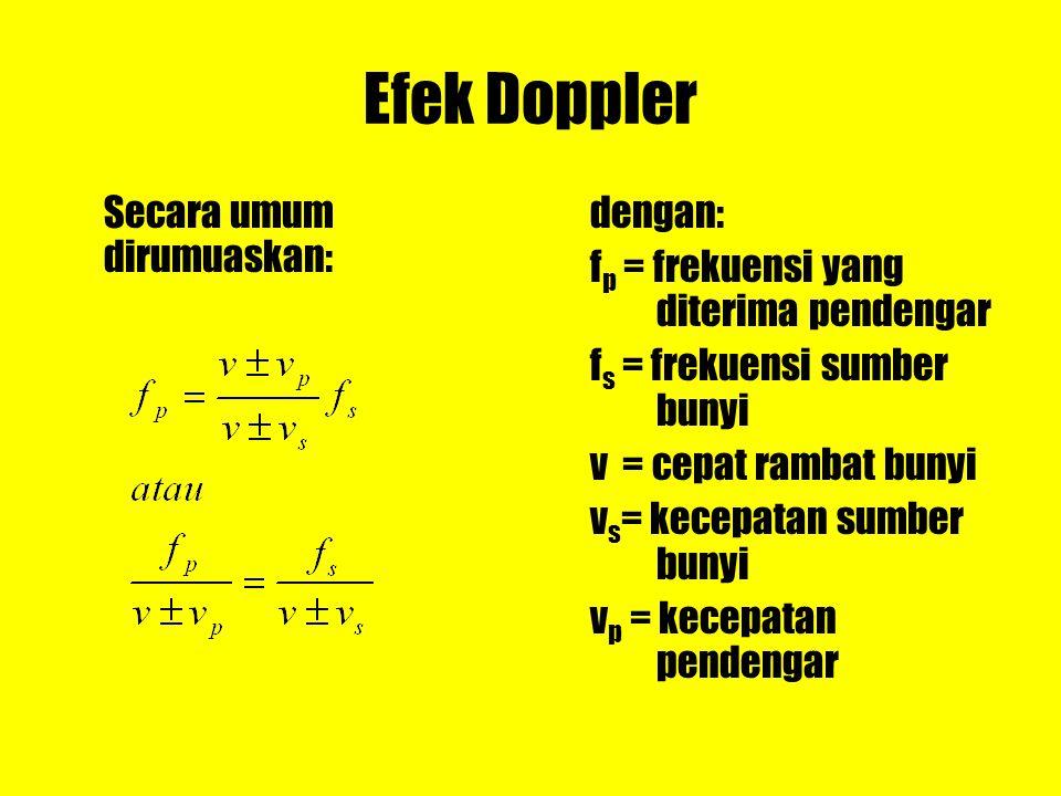 Efek Doppler Secara umum dirumuaskan: dengan: f p = frekuensi yang diterima pendengar f s = frekuensi sumber bunyi v = cepat rambat bunyi v s = kecepa
