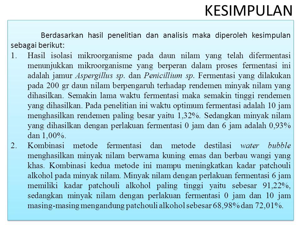 KESIMPULAN Berdasarkan hasil penelitian dan analisis maka diperoleh kesimpulan sebagai berikut: 1.Hasil isolasi mikroorganisme pada daun nilam yang telah difermentasi menunjukkan mikroorganisme yang berperan dalam proses fermentasi ini adalah jamur Aspergillus sp.