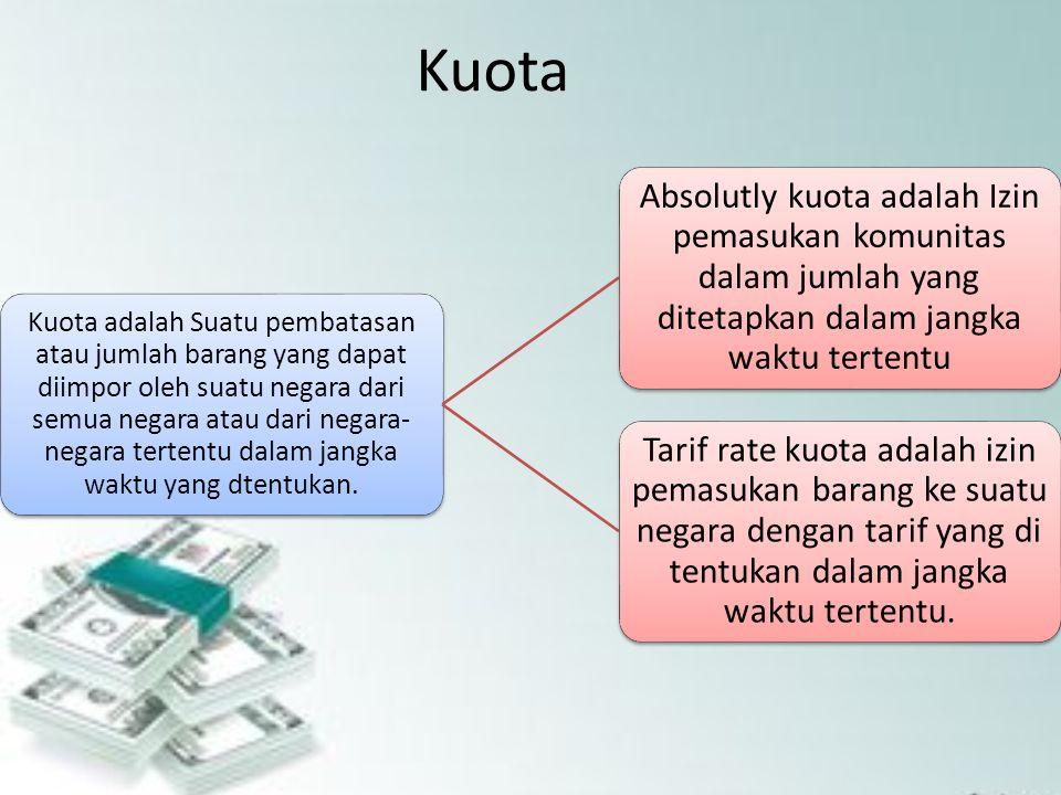 Kuota adalah Suatu pembatasan atau jumlah barang yang dapat diimpor oleh suatu negara dari semua negara atau dari negara- negara tertentu dalam jangka