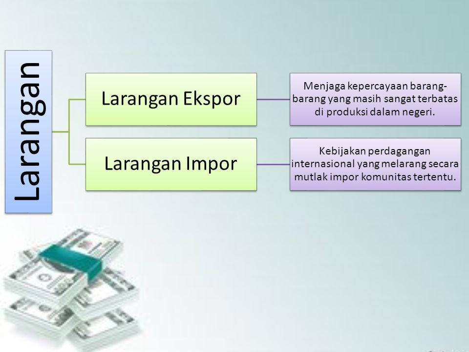 Larangan Larangan Ekspor Menjaga kepercayaan barang- barang yang masih sangat terbatas di produksi dalam negeri. Larangan Impor Kebijakan perdagangan