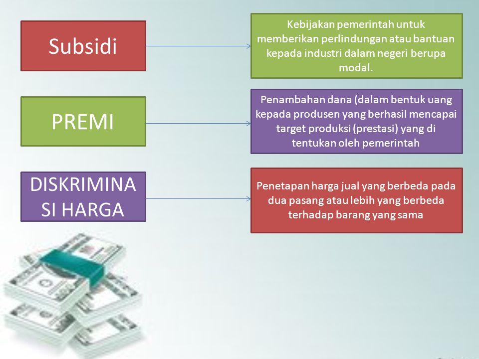 Subsidi PREMI DISKRIMINA SI HARGA Kebijakan pemerintah untuk memberikan perlindungan atau bantuan kepada industri dalam negeri berupa modal. Penambaha
