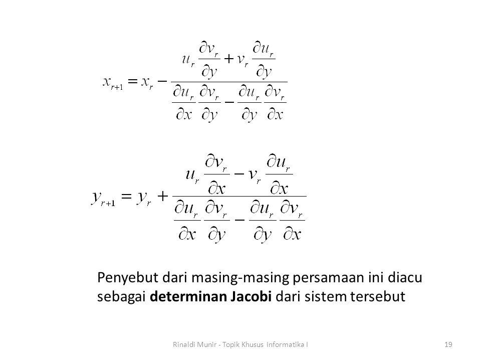 Rinaldi Munir - Topik Khusus Informatika I19 Penyebut dari masing-masing persamaan ini diacu sebagai determinan Jacobi dari sistem tersebut