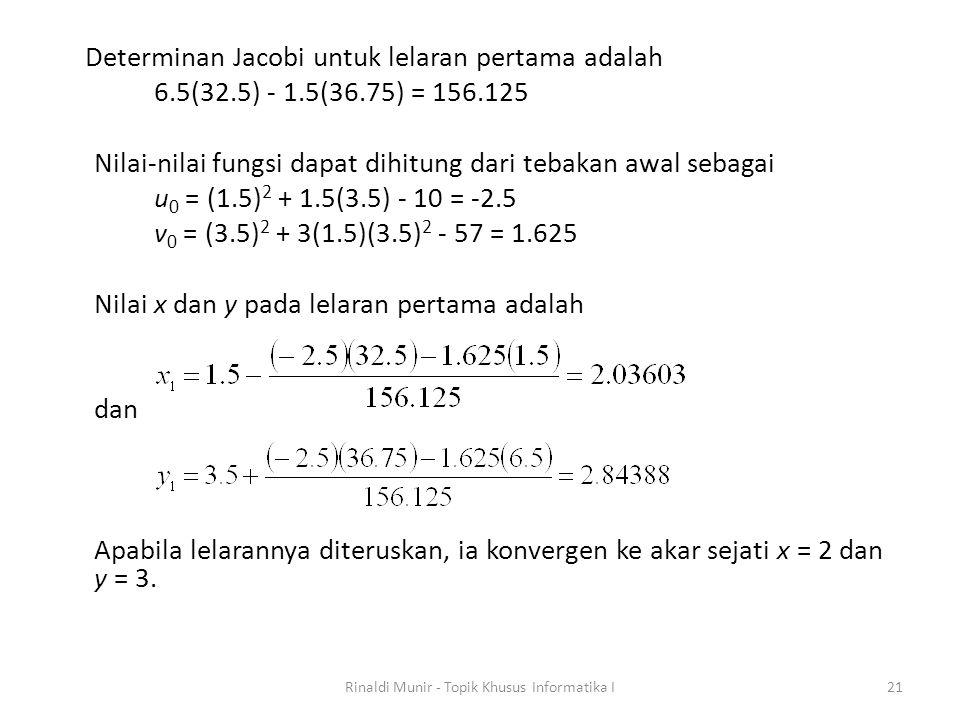 Determinan Jacobi untuk lelaran pertama adalah 6.5(32.5) - 1.5(36.75) = 156.125 Nilai-nilai fungsi dapat dihitung dari tebakan awal sebagai u 0 = (1.5) 2 + 1.5(3.5) - 10 = -2.5 v 0 = (3.5) 2 + 3(1.5)(3.5) 2 - 57 = 1.625 Nilai x dan y pada lelaran pertama adalah dan Apabila lelarannya diteruskan, ia konvergen ke akar sejati x = 2 dan y = 3.
