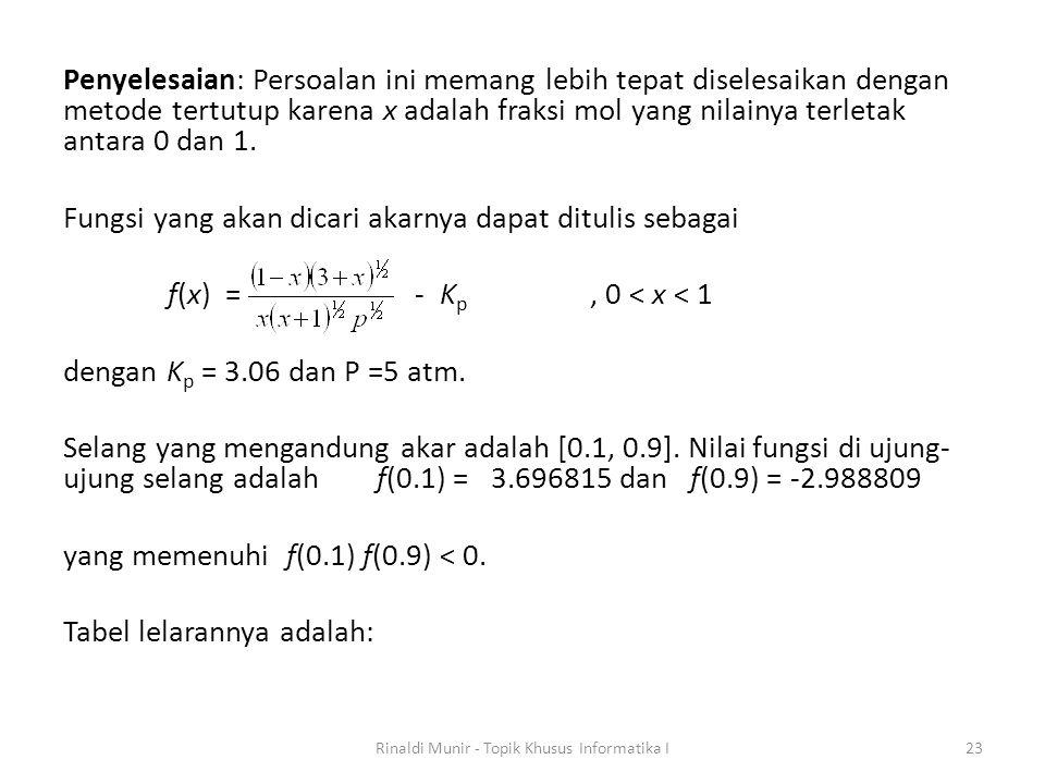 Penyelesaian: Persoalan ini memang lebih tepat diselesaikan dengan metode tertutup karena x adalah fraksi mol yang nilainya terletak antara 0 dan 1. F