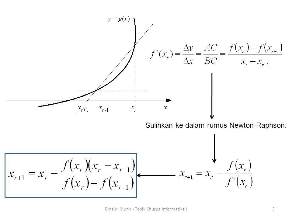 3 Sulihkan ke dalam rumus Newton-Raphson: