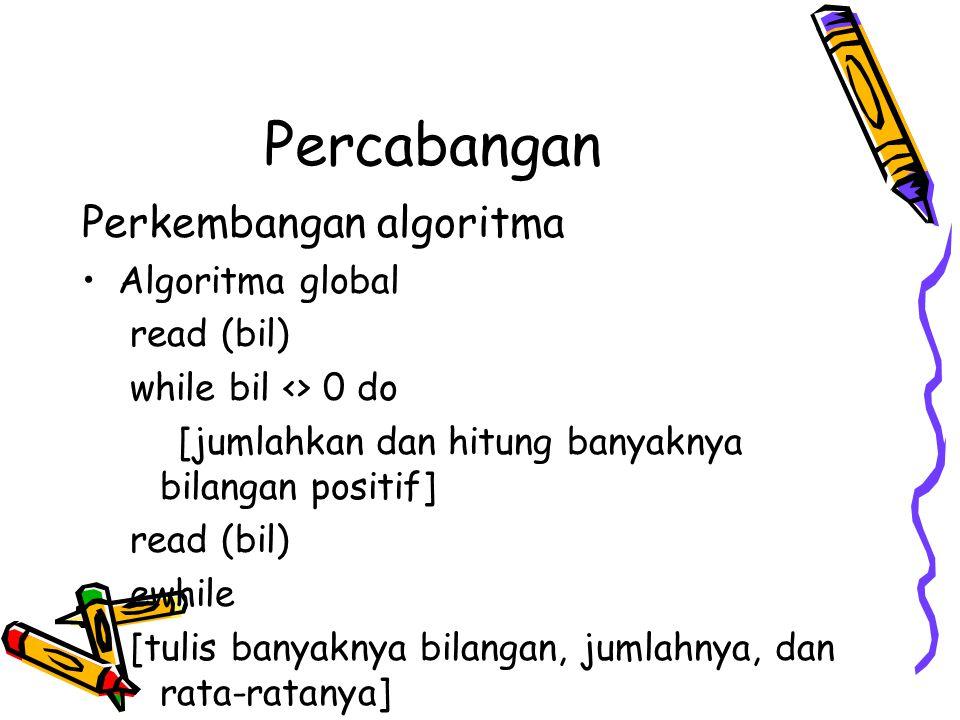 Percabangan Algoritmanya menjadi : akhirdata := 0 read (bil) maks := bil while bil <> akhirdata do if bil > maks then maks := bil eif read (bil) ewhile write (maks)