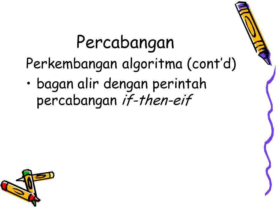 Percabangan Perkembangan algoritma (cont'd) bagan alir dengan perintah percabangan if-then-eif