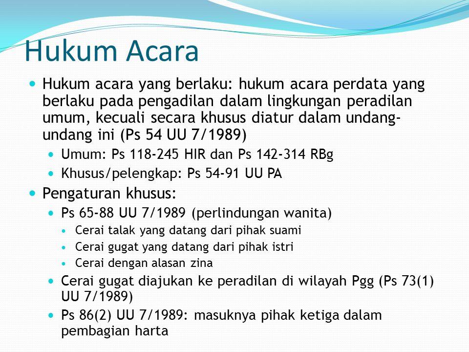 Hukum Acara - 2 Peradilan khusus: bidang perdata Islam tertentu dan hanya untuk orang Islam di Indonesia.
