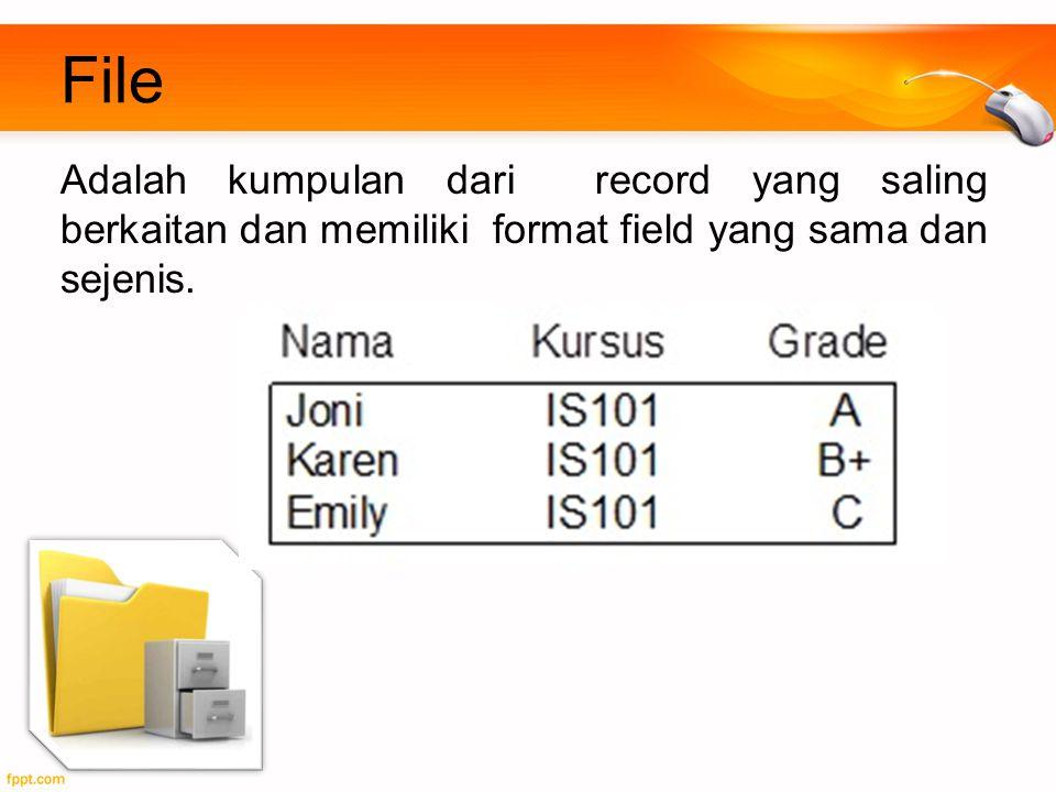 File Adalah kumpulan dari record yang saling berkaitan dan memiliki format field yang sama dan sejenis.