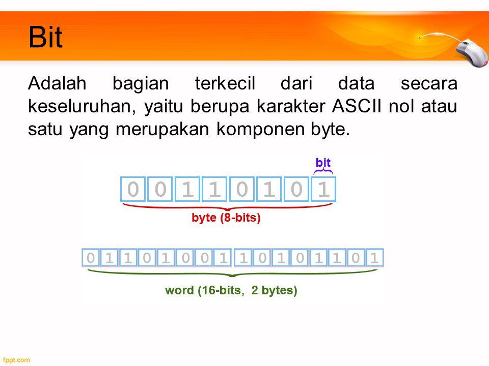 Bit Adalah bagian terkecil dari data secara keseluruhan, yaitu berupa karakter ASCII nol atau satu yang merupakan komponen byte.