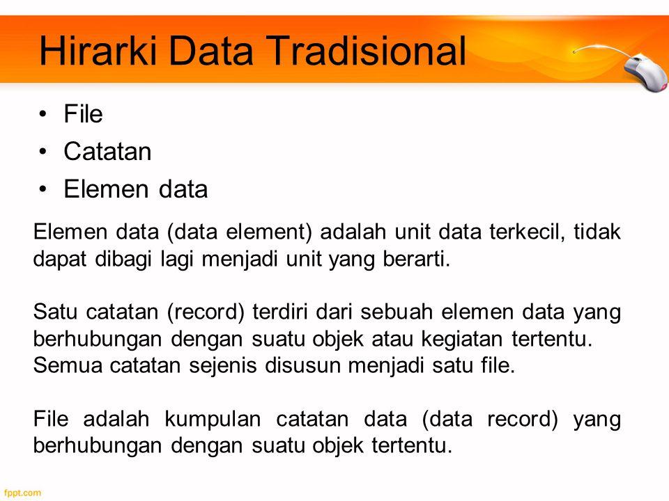 Hirarki Data Tradisional File Catatan Elemen data Elemen data (data element) adalah unit data terkecil, tidak dapat dibagi lagi menjadi unit yang bera