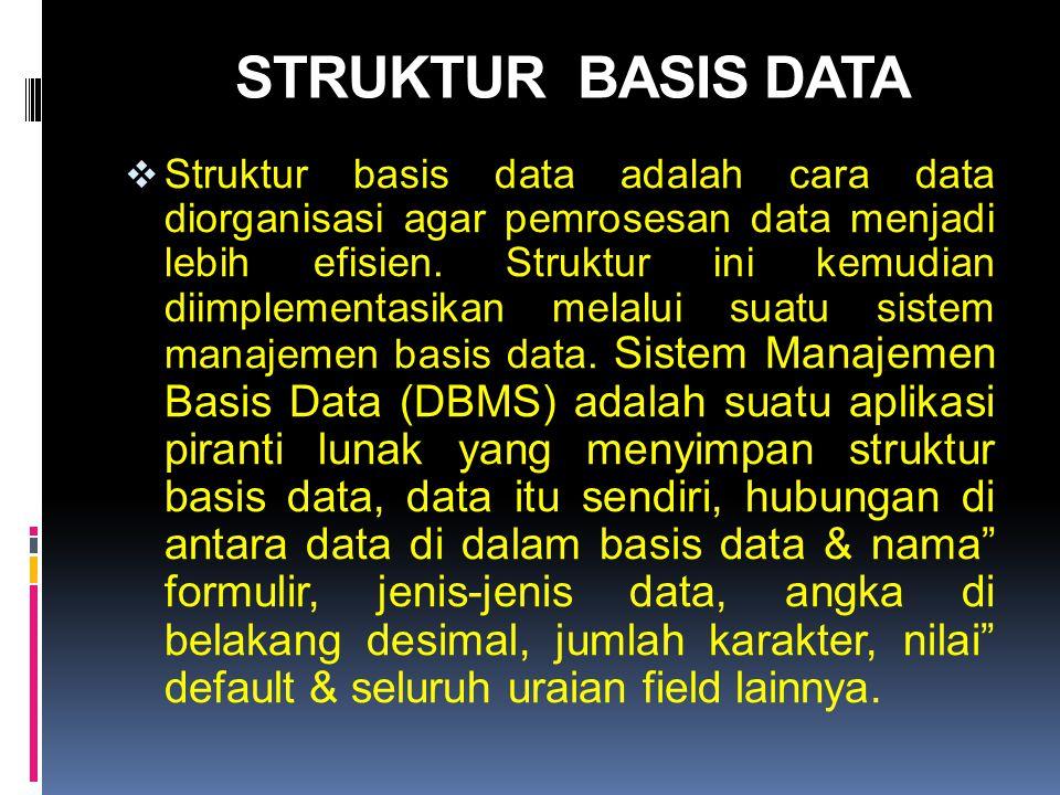 STRUKTUR BASIS DATA  Struktur basis data adalah cara data diorganisasi agar pemrosesan data menjadi lebih efisien. Struktur ini kemudian diimplementa