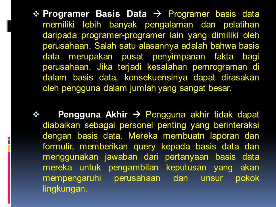  Programer Basis Data  Programer basis data memiliki lebih banyak pengalaman dan pelatihan daripada programer-programer lain yang dimiliki oleh peru